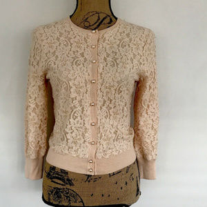 THE LIMITED DIAMOND JEWELD LACE PEARL BUTTON CARDI